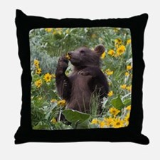 Grizzly Bear Cub Throw Pillow