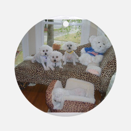 BICHONS AND A BEAR ORNAMENT (ROUND)