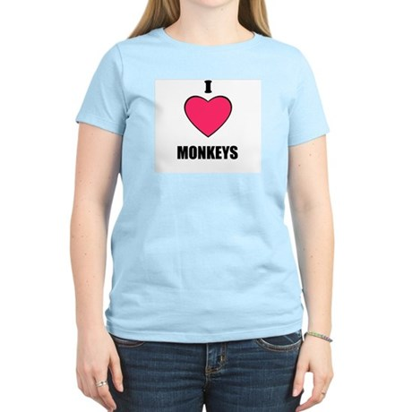 I LOVE MONKEYS Women's Pink T-Shirt