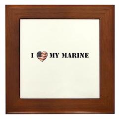 I Love My Marine Framed Tile