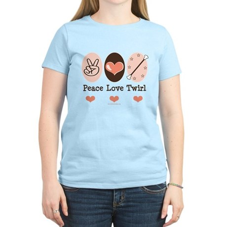 Peace Love Twirl Baton Twirling Pink T Shirt