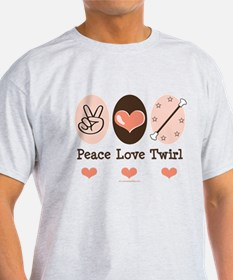 Peace Love Twirl Baton Twirling T-Shirt