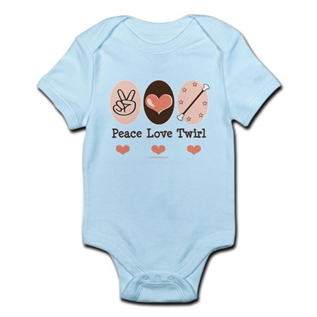 Peace Love Twirl Baton Twirling Infant Bodysuit