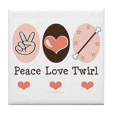 Peace Love Twirl Baton Twirling Tile Coaster