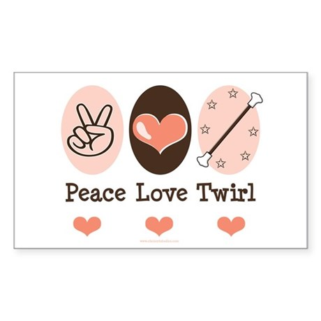 Peace Love Twirl Baton Twirling Sticker (Rectangle