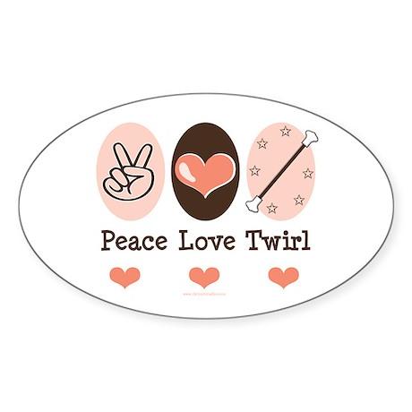 Peace Love Twirl Baton Twirling Sticker (Oval 10 p