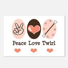 Peace Love Twirl Baton Twirling Postcards 8 Pack