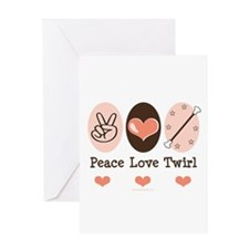 Peace Love Twirl Baton Twirling Greeting Card