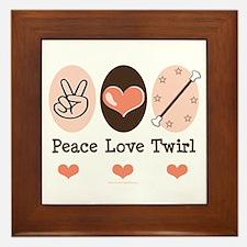 Peace Love Twirl Baton Twirling Framed Tile