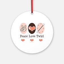 Peace Love Twirl Baton Twirling Ornament (Round)
