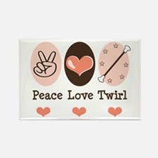 Peace Love Twirl Baton Twirling Rectangle Magnet