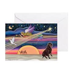 Xmas Star/Lab (choc) Greeting Cards (Pk of 10)