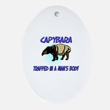 Capybara Trapped In A Man's Body Oval Ornament