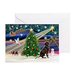 Xmas Magic & Chocolate Lab Greeting Card