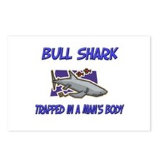 Bull Shark Trapped In A Man's Body Postcards (Pack