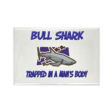 Bull Shark Trapped In A Man's Body Rectangle Magne