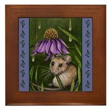 Mouse and Flowers Miniature Art on Framed Tile