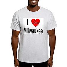 I Love Milwaukee (Front) Ash Grey T-Shirt