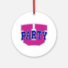 Party U/(Pink/Blue Logo) Keepsake (Round)