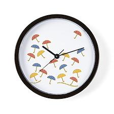Cute Little Umbrellas Wall Clock