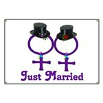 Just Married Formal Lesbian Banner