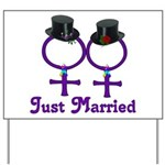 Just Married Formal Lesbian Yard Sign