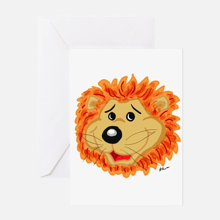 Smiling Lion Face Greeting Card