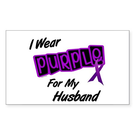 I Wear Purple For My Husband 8 Rectangle Sticker