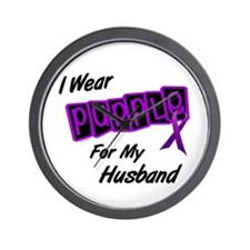 I Wear Purple For My Husband 8 Wall Clock
