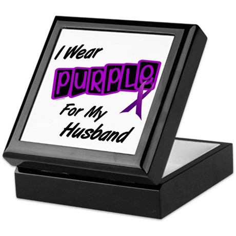 I Wear Purple For My Husband 8 Keepsake Box