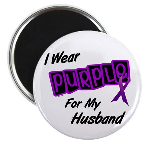 "I Wear Purple For My Husband 8 2.25"" Magnet (10 pa"