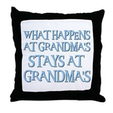 STAYS AT GRANDMA'S (blue) Throw Pillow