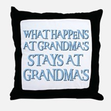 STAYS AT GRANDMA'S (blue) Throw Pillow