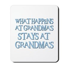 STAYS AT GRANDMA'S (blue) Mousepad