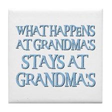 STAYS AT GRANDMA'S (blue) Tile Coaster