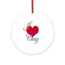 I love (heart) Chaz Ornament (Round)
