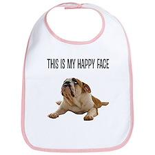 Happy Face Bulldog Bib