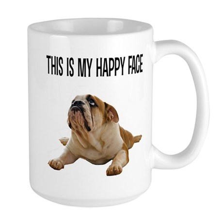 Happy Face Bulldog Large Mug