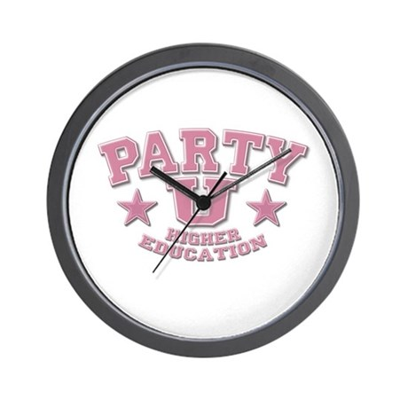 Party U/Higher Ed (Pink) Wall Clock