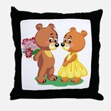 Young Love Teddy's Throw Pillow