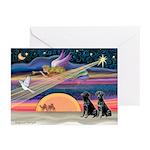 Xmas Star/black Lab (pr) Greeting Cards (Pk/10)