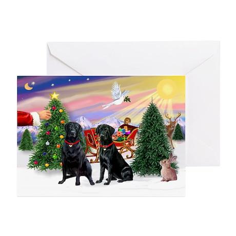 Santa's Treat-Blk Lab PR Greeting Cards (Pk of 20)