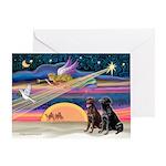 Xmas Star & Lab pair(ch&bl) Greeting Card