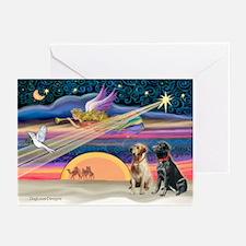 Xmas Star/2 Labs (Y+B) Greeting Cards (Pk of 20)