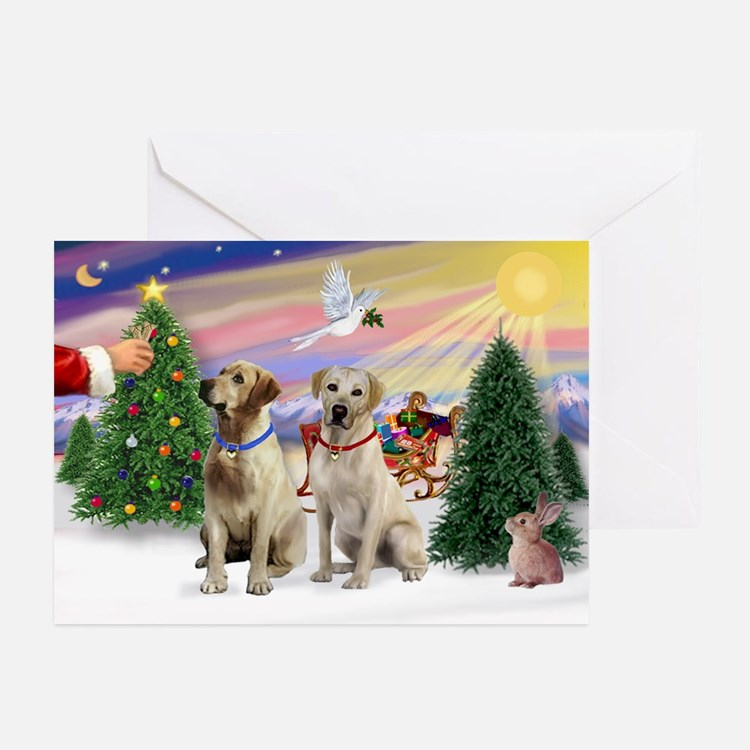 Treat for 2 Yellow Labs Greeting Cards (Pk of 20)