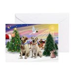 Treat for 2 Yellow Labs Greeting Cards (Pk of 10)