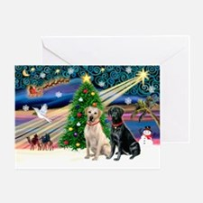 Xmas Magic/2 Labs (Y+B) Greeting Card