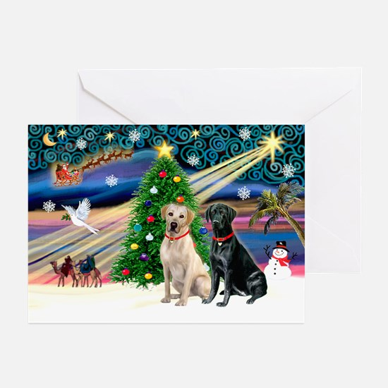 Xmas Magic/2 Labs (Y+B) Greeting Cards (Pk of 20)