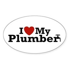 I Love My Plumber Oval Decal