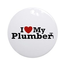 I Love My Plumber Ornament (Round)